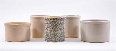 Five Stoneware Crock Jars