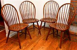 Four Ethan Allen Windsor Side Chairs