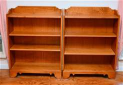 Pair Ethan Allen Two Shelf Adjustable Bookcases