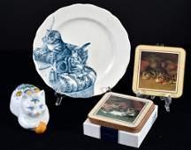 English Cat Plate, Figural Cat Box & Coasters