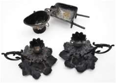 Vintage Wrought Iron Candle Holders  Ashtrays