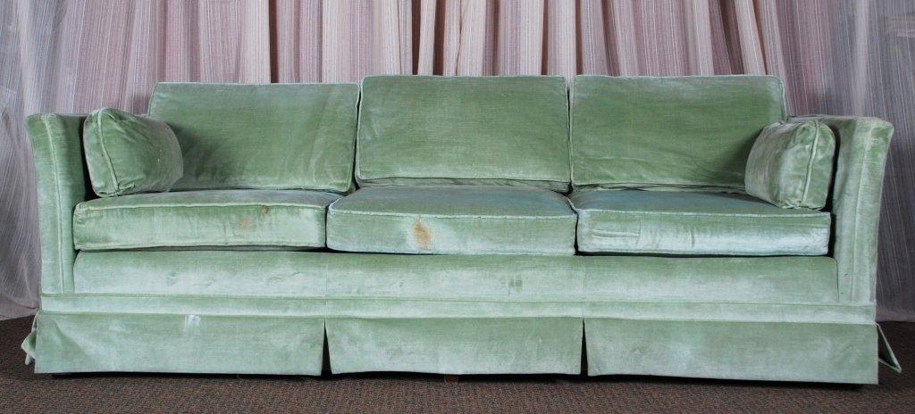 Seafoam Green Velvet Sofa