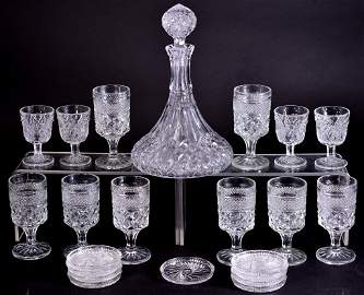 Ships Decanter, Goblets and Coasters