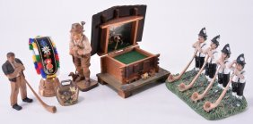 Vintage Composite & Wooden Swiss Figurines Plus