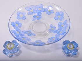 Console Bowl & Candleholders W/blue Flowers