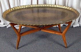 Oval Decorative Iranian Brass Tray Table