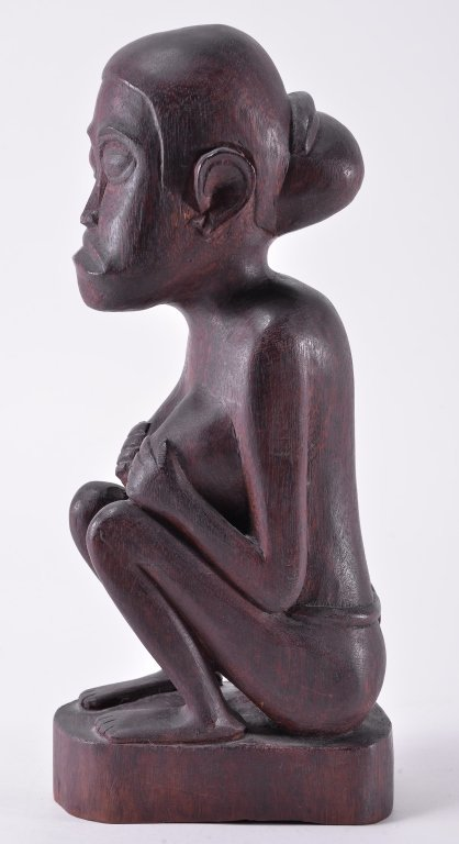 Vintage Hand Carved Seated African Woman