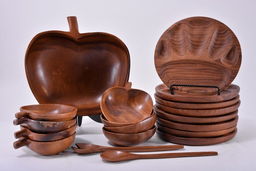 Wooden Apple Salad Bowl Set & Sectioned Plates