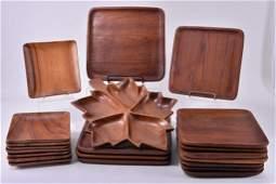 Large Wooden Leaf Divided Dish & Twenty Plates