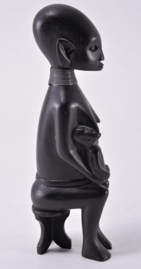 African Handcarved Seated Nursing Woman