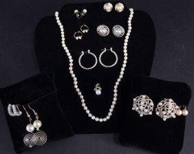 Pearl, Silver, Rhinestone Costume Jewelry
