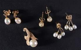 10K  14K Gold  Pearl Estate Jewelry