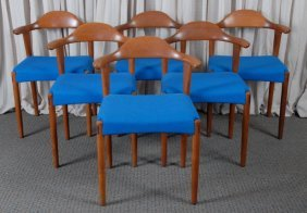 Six Vintage Solid Teak Dining Room Chairs