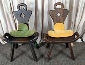 Pair Vintage Spanish Birthing Chairs W/cushions