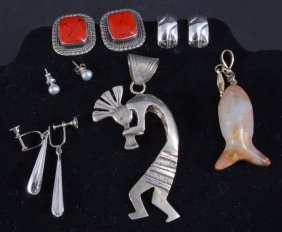 Sterling Kokopelli Pendant, Earrings + Stone Fish
