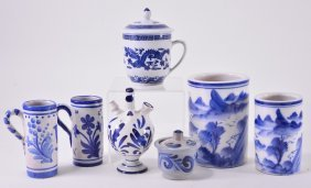 9 Blue & White Oriental Pieces Plus