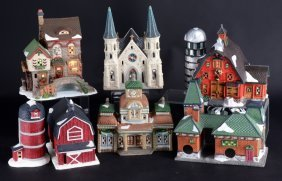 7 O'well Lighted Christmas Village Buildings
