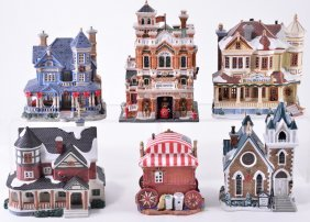 Six Lemax Lighted Christmas Village Buildings
