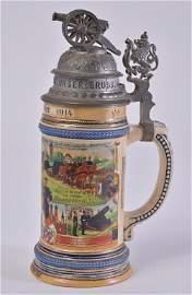 Vintage German Regimental Stein w/Cannon Finial