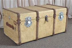 Vintage Flat Top Trunk w/Wooden Bands & Tray