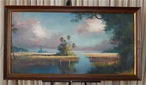 Highwayman Artist H. Newton Oil on Board Bayou Scene