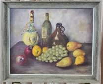Signed Oil on Board Still Life of Bottles & Fruit