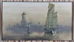 Dan Dunn Acrylic on Canvas Sail Boat & Lighthouse