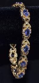 Oval Tanzanite & Diamond 14K Yellow Gold Bracelet