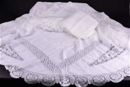 Vintage White on White Embroidered Lace Cloth Plus