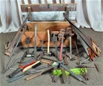 Vintage Wood Tool Box w/Tools