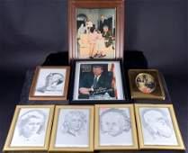 8 Framed Historical Figure Prints & Photo