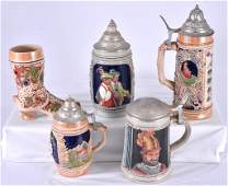 5 Hangemalt German Steins