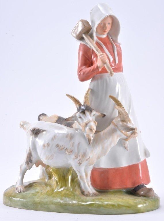 Royal Copenhagen Girl With Goats 694