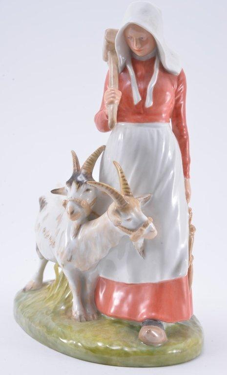 Royal Copenhagen Girl With Goats 694 - 2