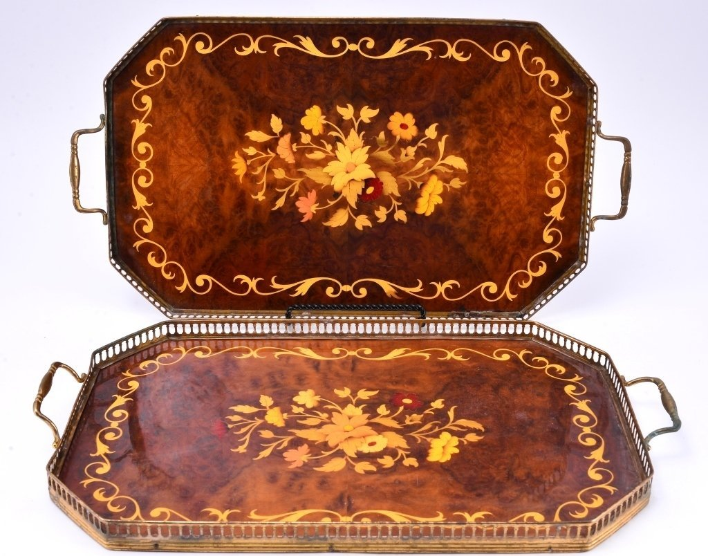 Two Marquetry and Brass Trays