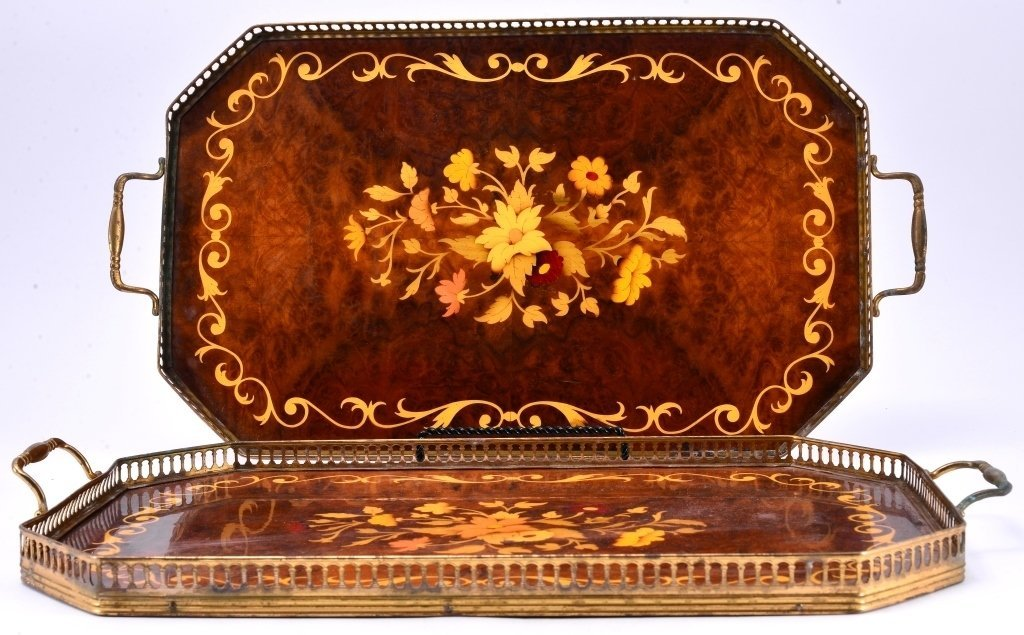 Two Marquetry and Brass Trays - 2