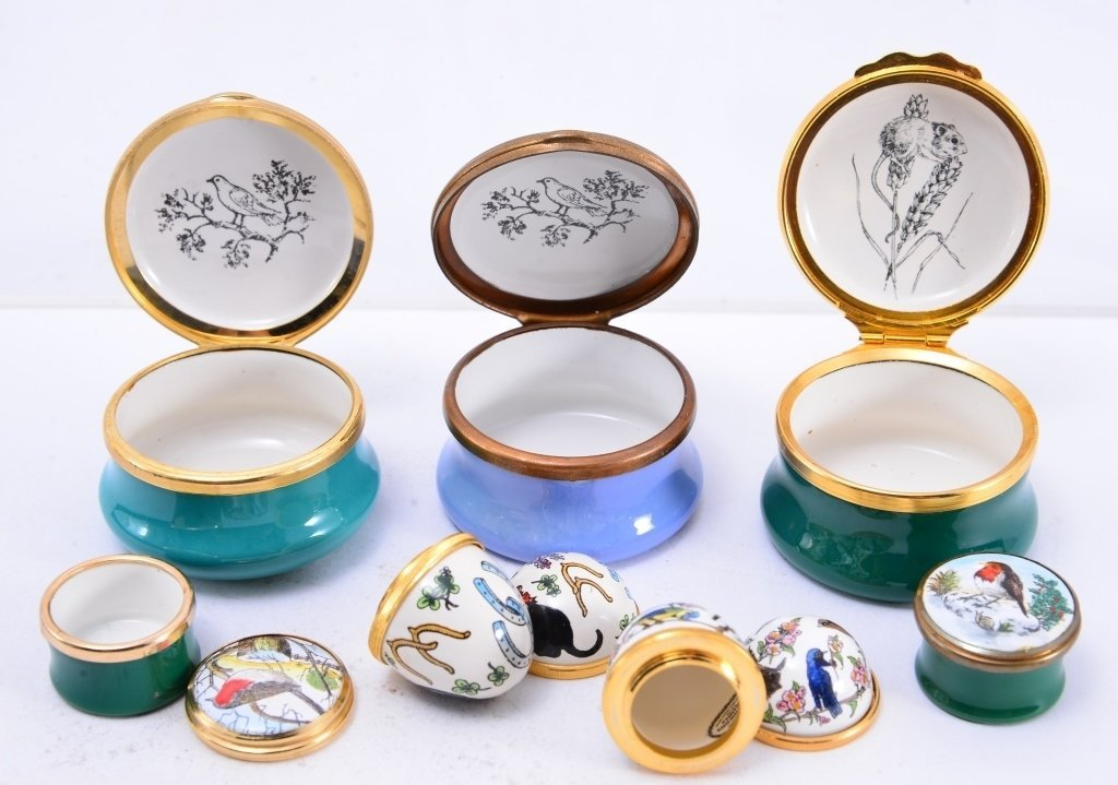 6 Halcyon Enamel Boxes and Eggs