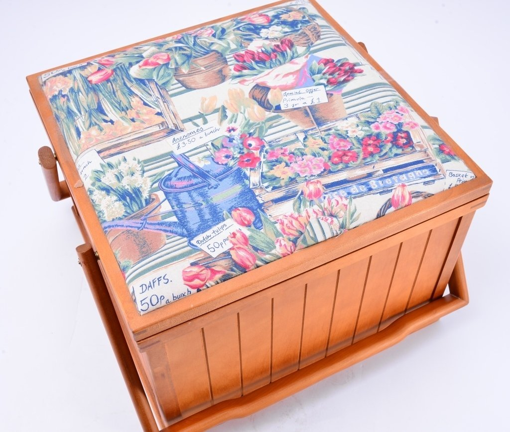Sewing Basket w/Fabric Top - 2
