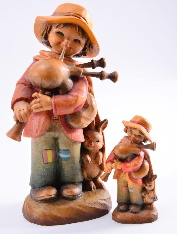Anri Boy w/Bagpipe & Rabbit Figurines