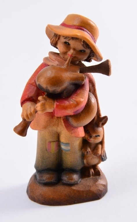 Anri Boy w/Bagpipe & Rabbit Figurines - 2