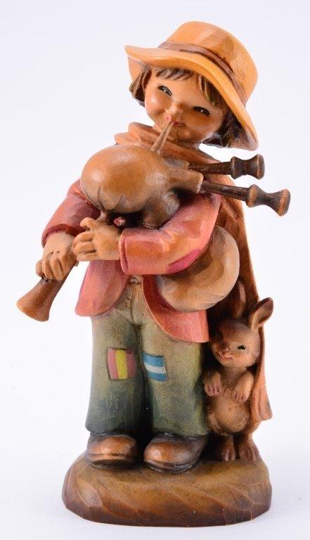 Anri Boy w/Bagpipe & Rabbit Figurines - 3