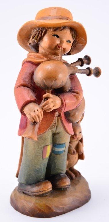 Anri Boy w/Bagpipe & Rabbit Figurines - 4