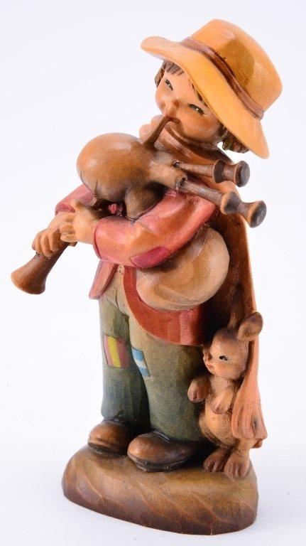 Anri Boy w/Bagpipe & Rabbit Figurines - 5