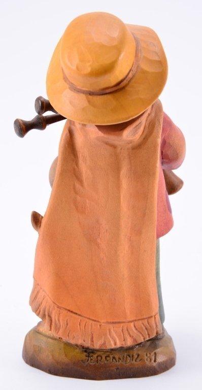 Anri Boy w/Bagpipe & Rabbit Figurines - 6