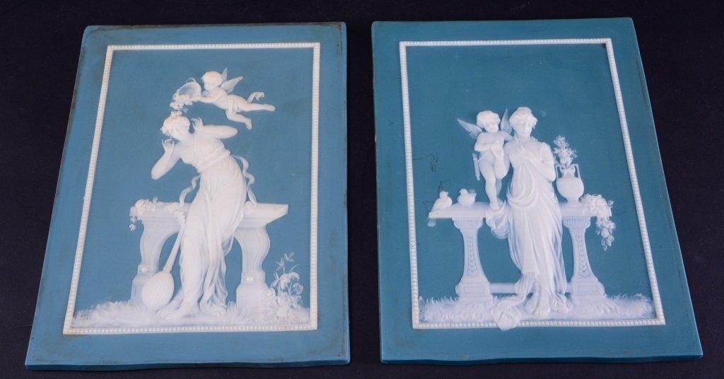 Two Jasperware Mettlach Classical Plaques