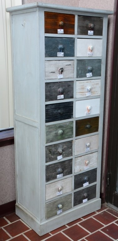 Distressed 20-Drawer Storage Chest