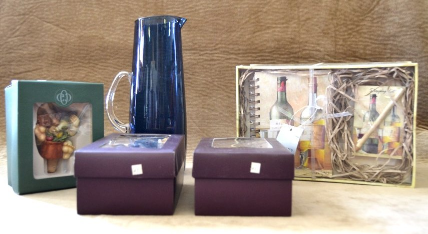 Blue Glass Pitcher, 3 Wine Stoppers & Gift Set