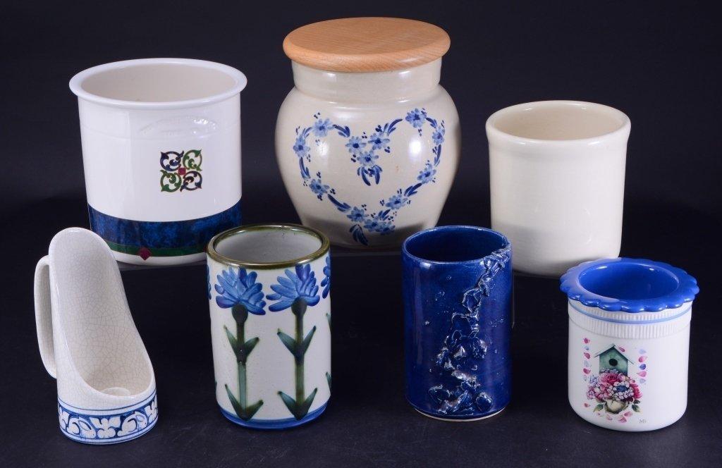 6 Ceramic Pots & Candleholder