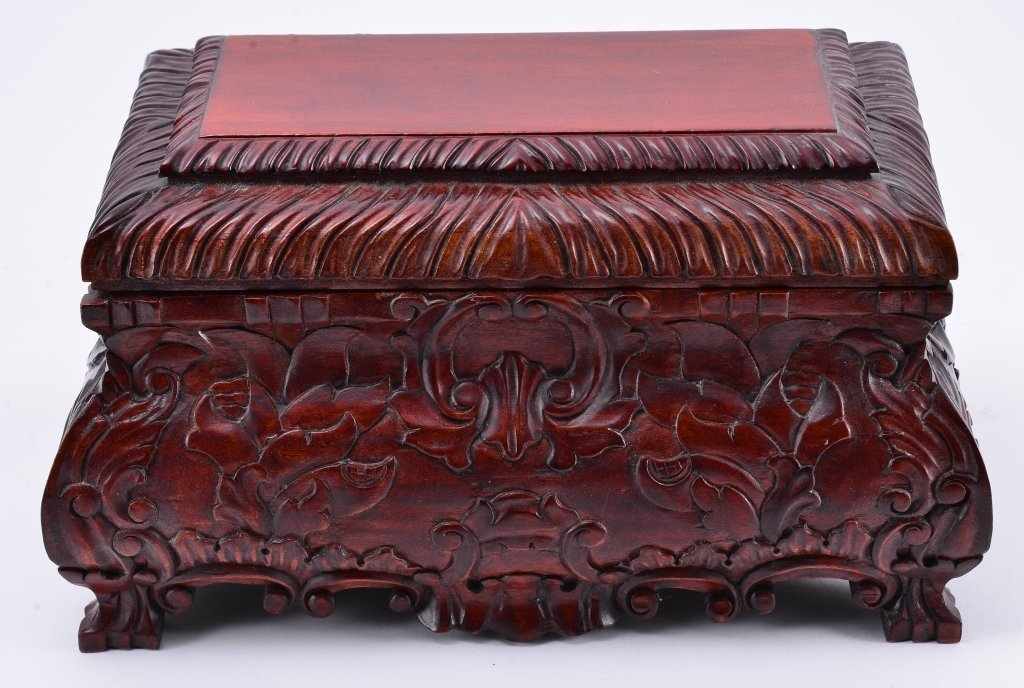 Carved Casket Style Wood Box