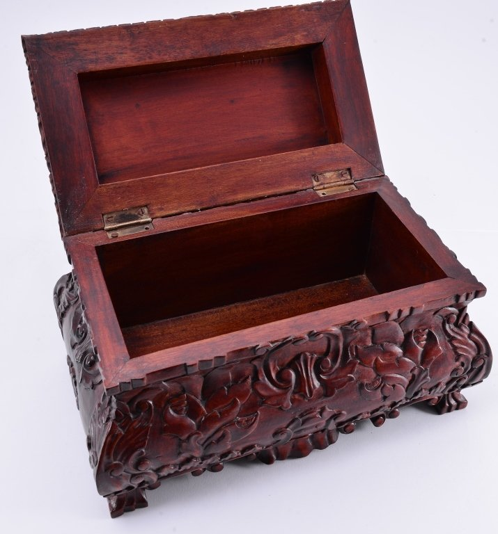 Carved Casket Style Wood Box - 3